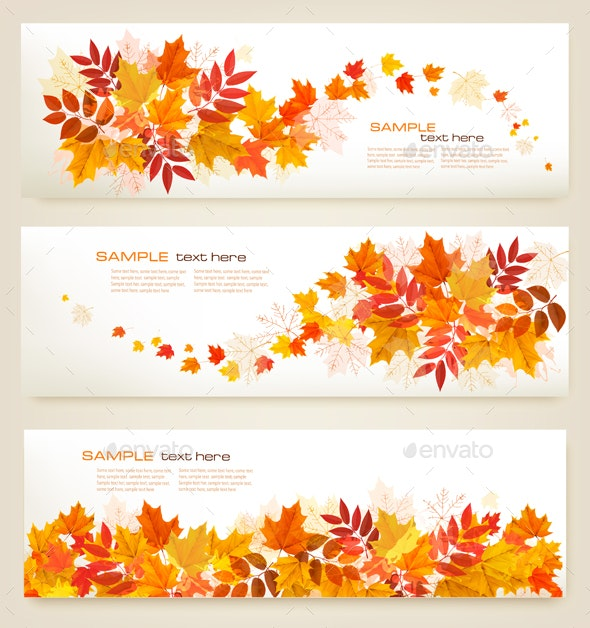 Set of Abstract Autumn Banners With Colorful Leaves - Seasons Nature