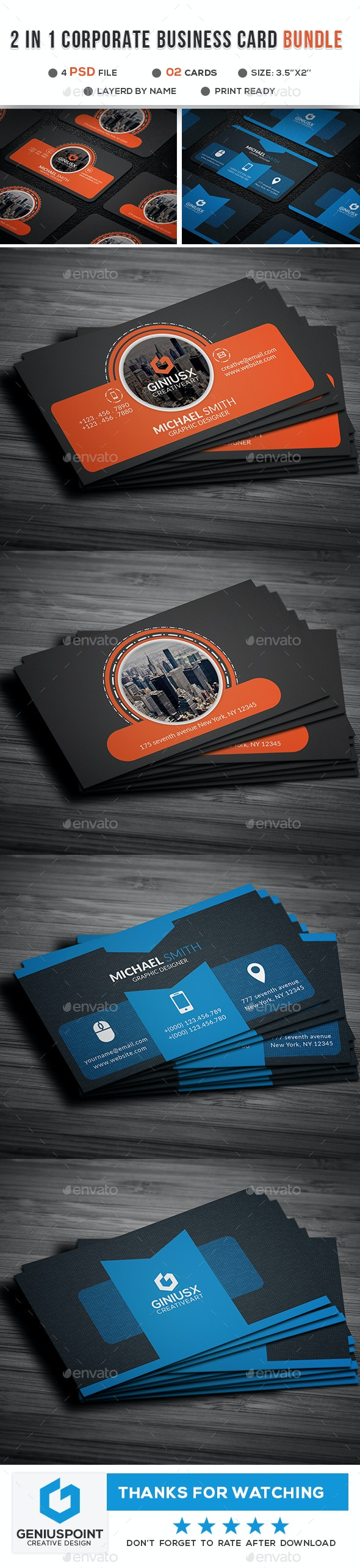 2 in 1 Corporate Business Card - Business Cards Print Templates