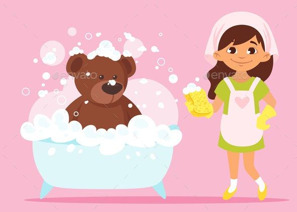 Girl Cleaning Her Bear Toy - Animals Characters