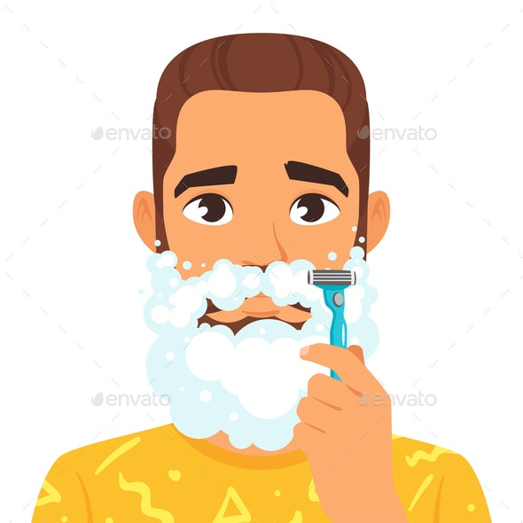Shaving Man with Beard - People Characters
