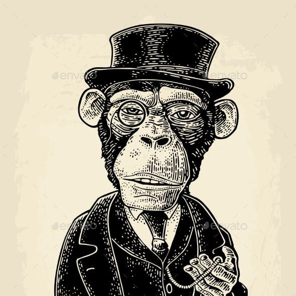 Monkey Gentleman Holding a Watch and Dressed Hat