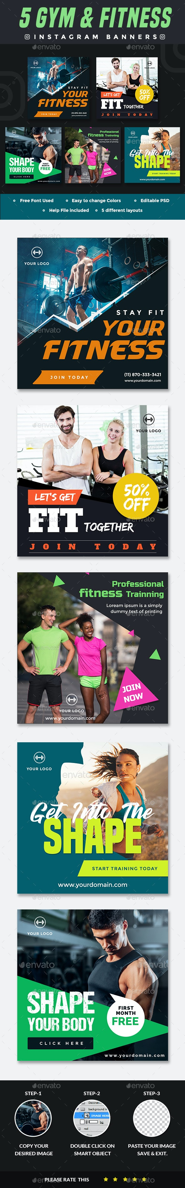 Instagram Fitness and Gym Banner - 5 Designs - Banners & Ads Web Elements