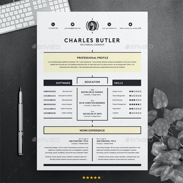 Creative Resume Template Instant Download