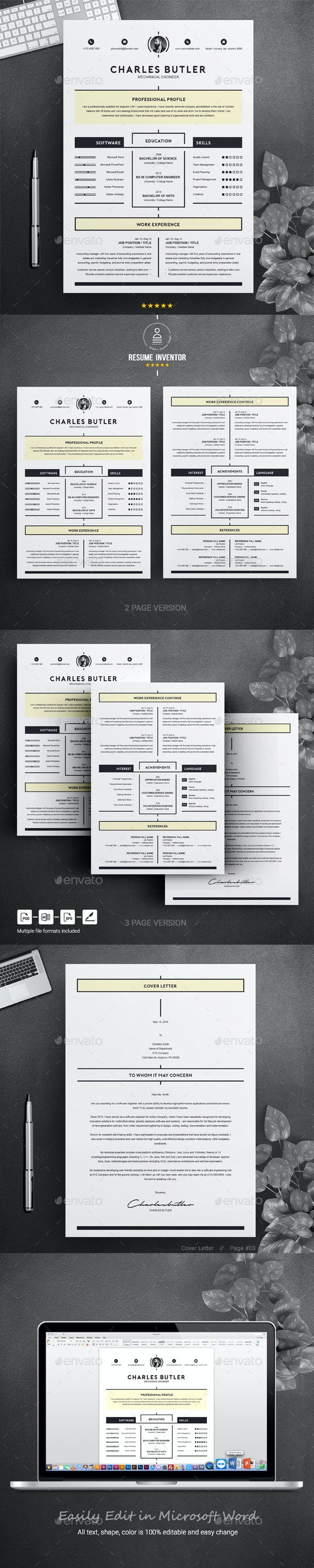 Creative Resume Template Instant Download - Resumes Stationery