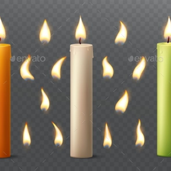 Set of Burning Candles with Different Flames.