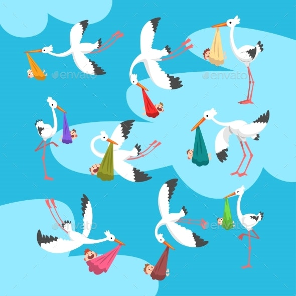 White Storks Delivering Newborn Babies Set - Animals Characters
