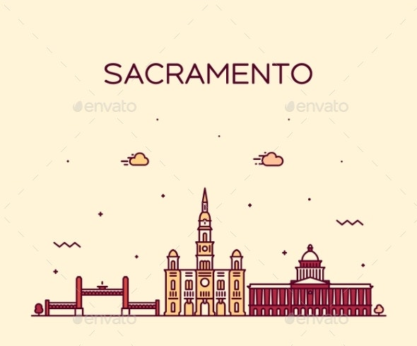Sacramento Skyline California USA Vector Line City - Buildings Objects