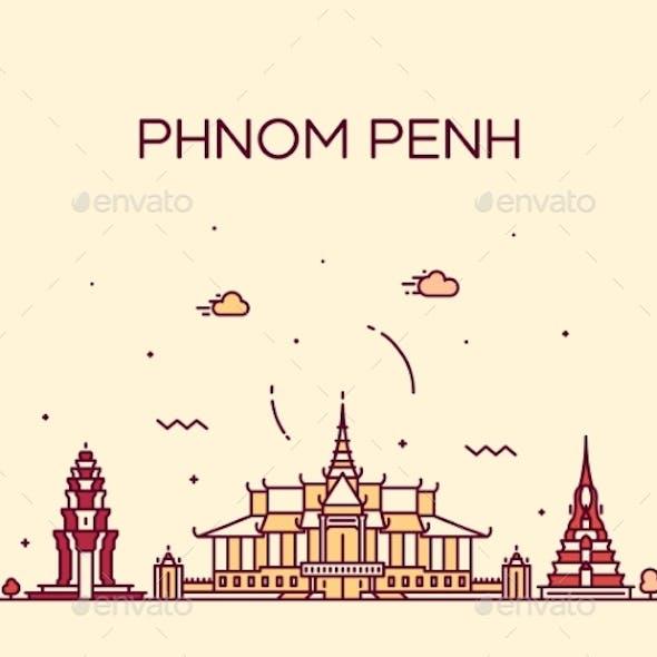 Phnom Penh Skyline Cambodia Linear Vector