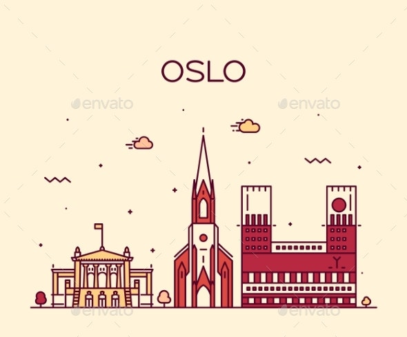 Oslo City Skyline Norway Vector Linear Style City - Buildings Objects
