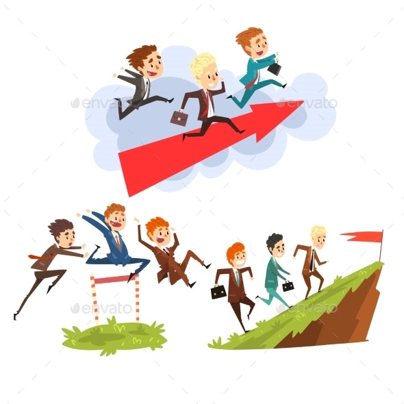 Businessmen Overcoming Obstacles Together  - Business Conceptual