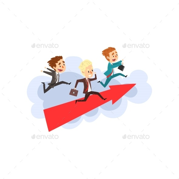 Businessmen Running Together on Big Arrow  - Business Conceptual