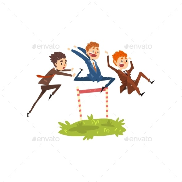 Businessmen Jumping Over Hurdles, Competition - Business Conceptual