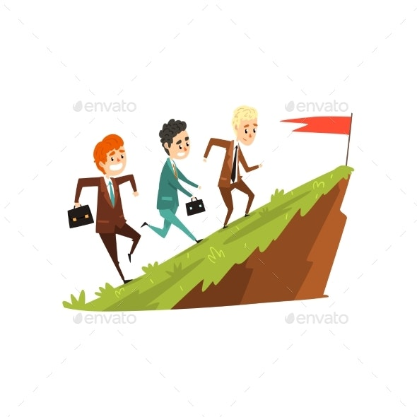 Three Businessmen Running Together on Mountain - Business Conceptual