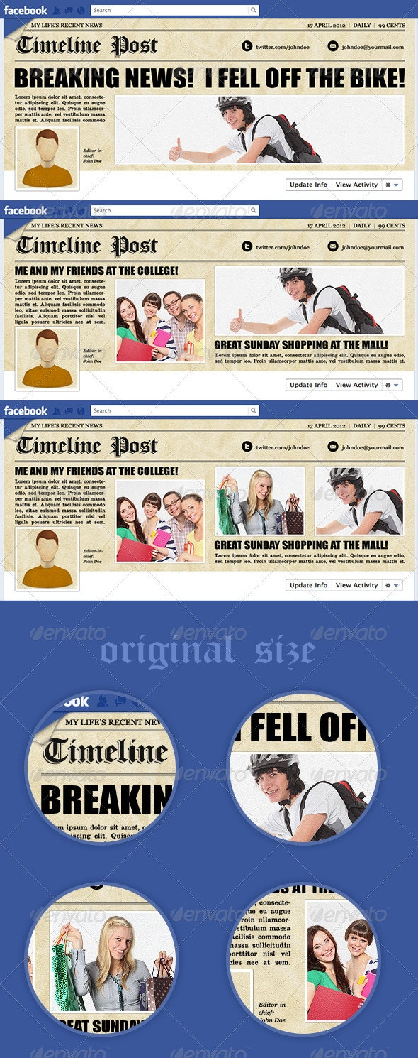 Newspaper Facebook Timeline - Social Media Web Elements