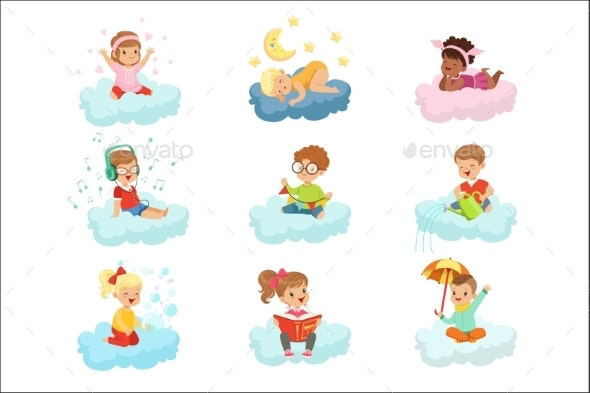 Boys and Girls Sitting on a Clouds - Objects Vectors