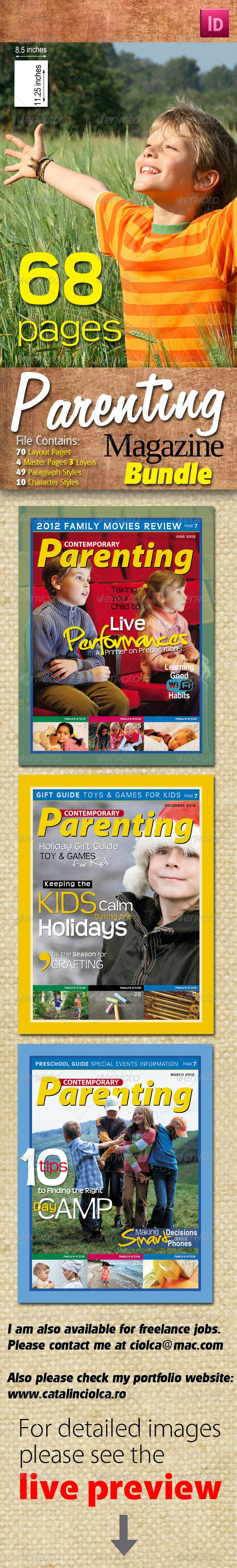 68 Pages Parenting Magazine Bundle - Magazines Print Templates