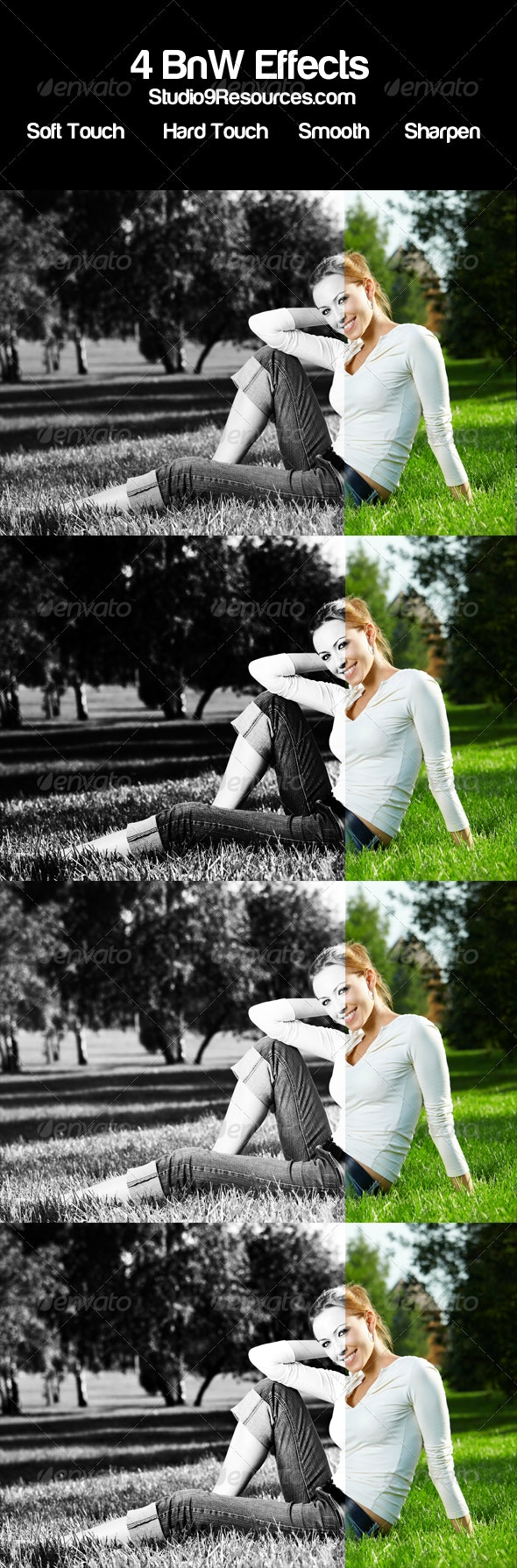 4 Black and White Photo Effects - Photo Effects Actions