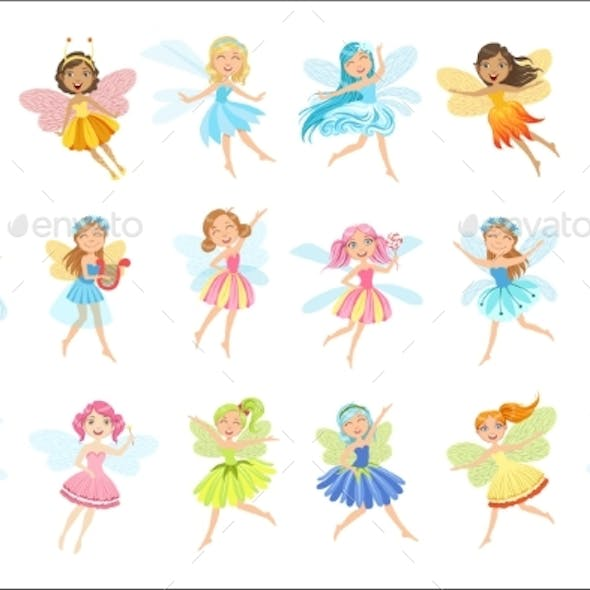 Fairies In Pretty Dresses Girly Cartoon