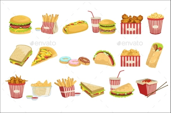 Fast Food Menu Items Realistic Detailed - Food Objects