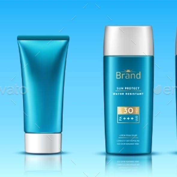 Realistic 3d Tubes with Sunscreen Cream