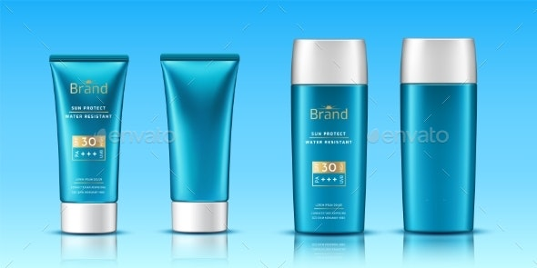 Realistic 3d Tubes with Sunscreen Cream - Miscellaneous Vectors
