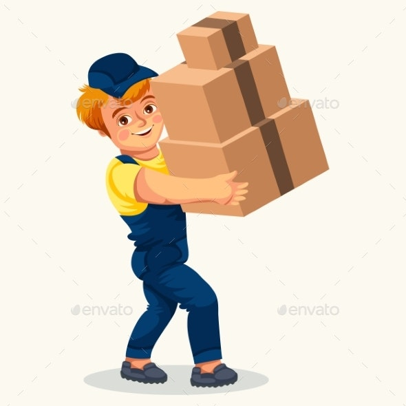 Cartoon Porter Carrying Cartons Colorful Poster - Objects Vectors