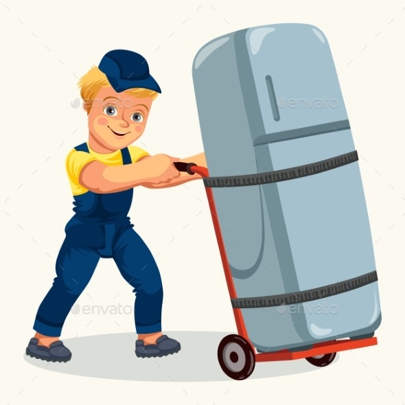 Cartoon Porter Transporting Fridge By Cart Poster - Objects Vectors