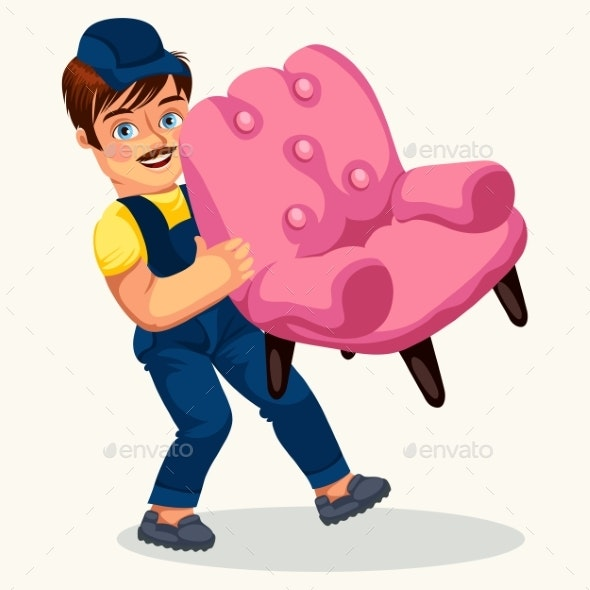 Porter Carrying Pink Arm-chair Colorful Poster - Man-made Objects Objects