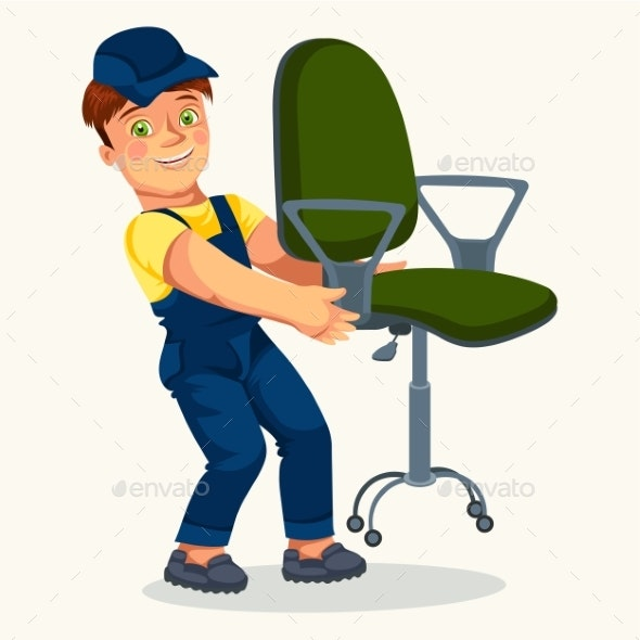Smiling Loader Man Holding Office Armchair Poster - Man-made Objects Objects