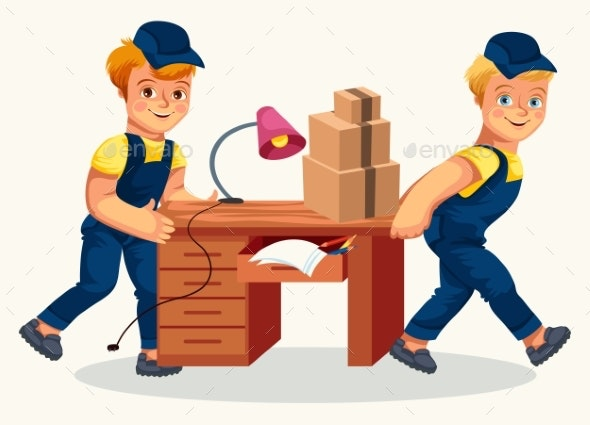 Delivery Team Carrying Desk and Cartons Poster - Objects Vectors