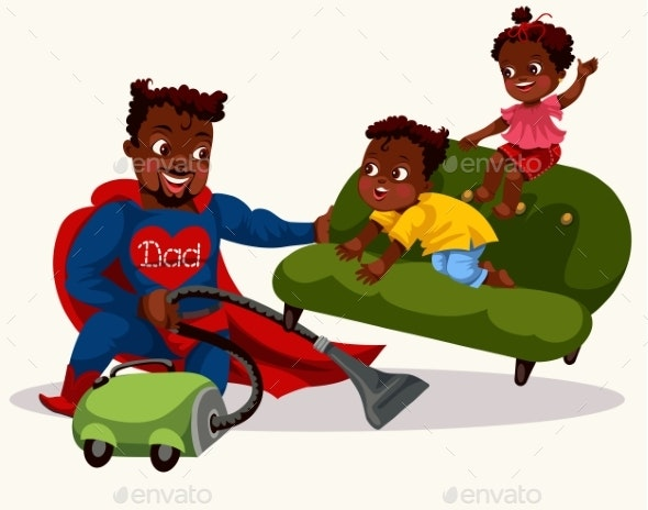 Daddy Is Superhero Colorful Poster - People Characters
