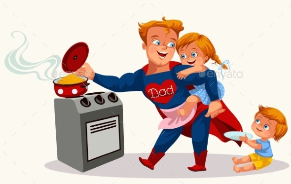 Superhero Dad Colorful Poster - People Characters
