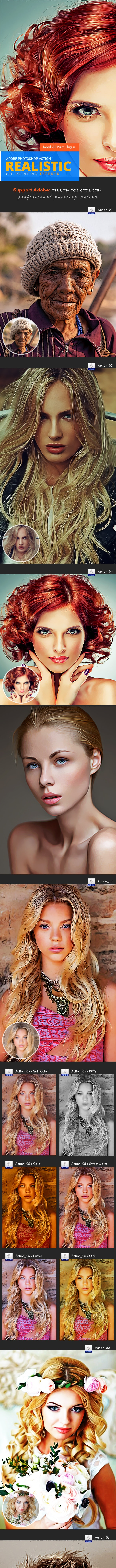 Realistic Oil Painting Action - Photo Effects Actions