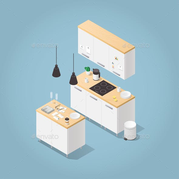 Isometric Kitchen Interior Illustration