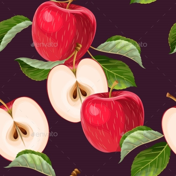 Seamless Pattern with Red Apples and Leaves - Food Objects