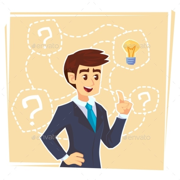 Businessman Thinking About Creative Idea - People Characters