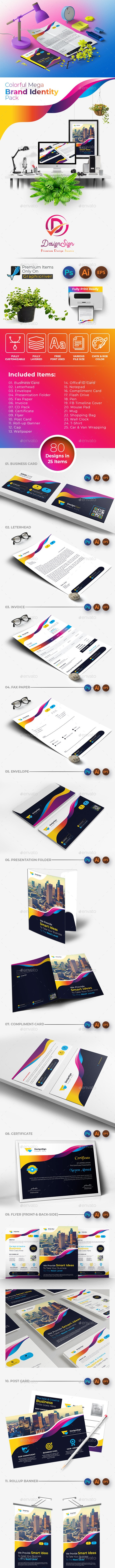 Colorful Mega Branding Identity - Stationery Print Templates