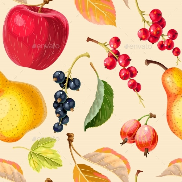 Vintage Seamless Pattern with Apples and Berries - Backgrounds Decorative