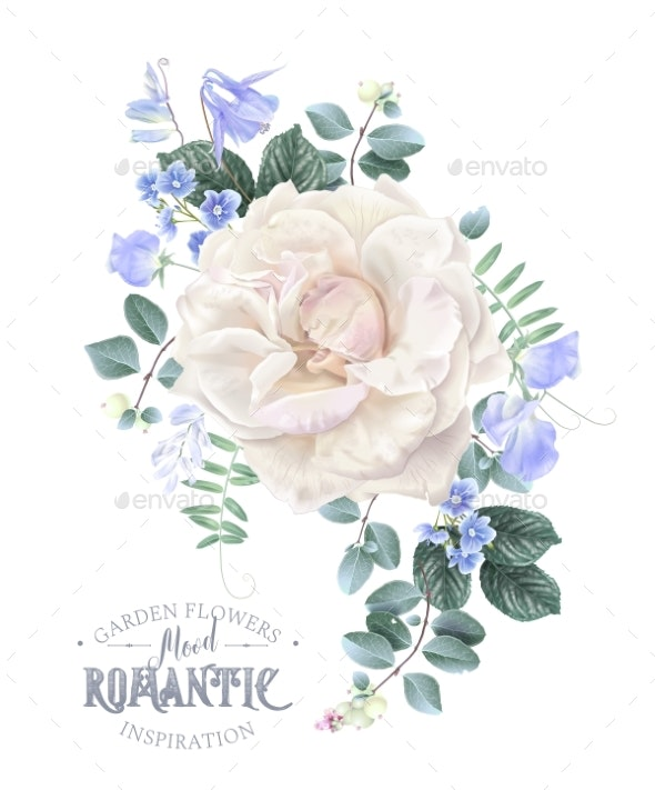 Vector Card with White Rose and Blue Flowers - Flowers & Plants Nature