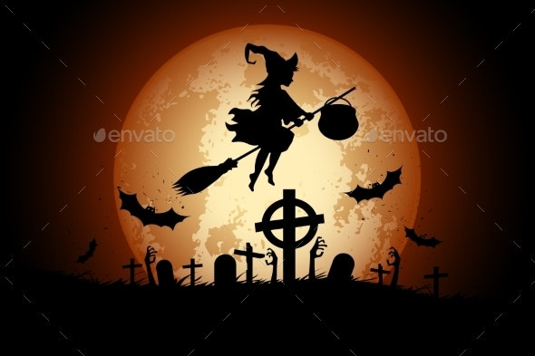 Halloween Background with Witch and Zombie - Halloween Seasons/Holidays