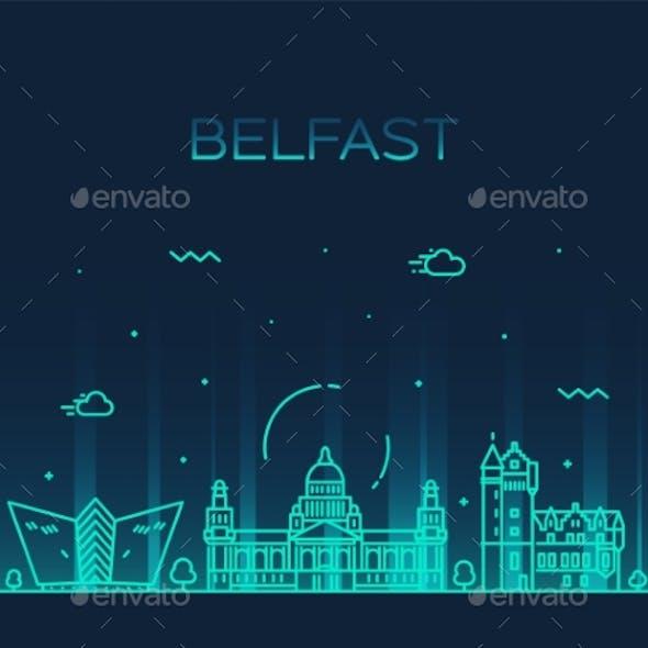 Belfast Skyline Northern Ireland Vector Line City
