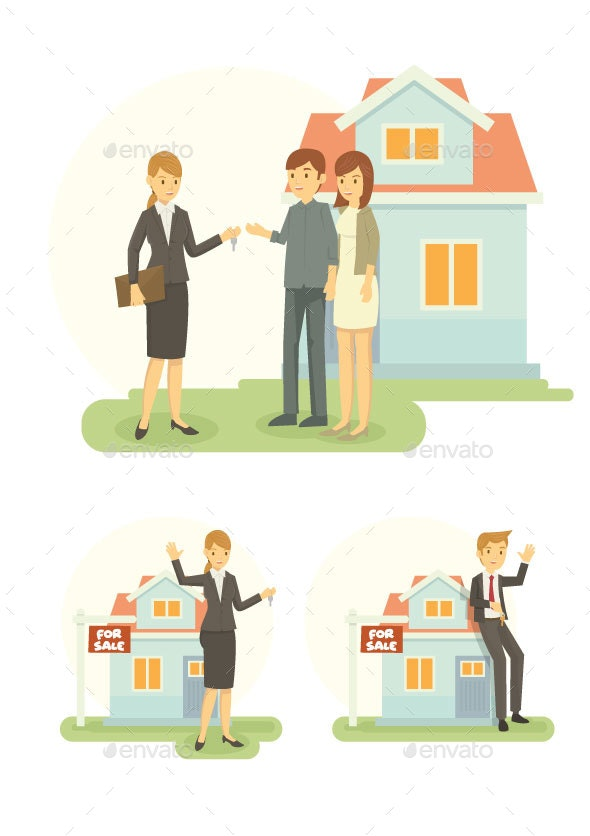 Set of Real Estate Agents - People Characters