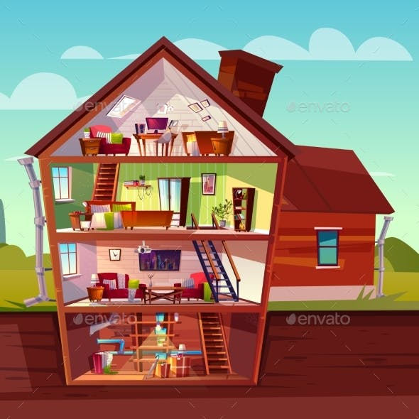 Vector Cartoon Multistorey House in Cross Section