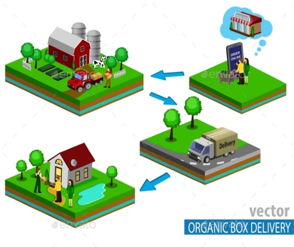 Organic Market Concept. Vector Illustration - Food Objects