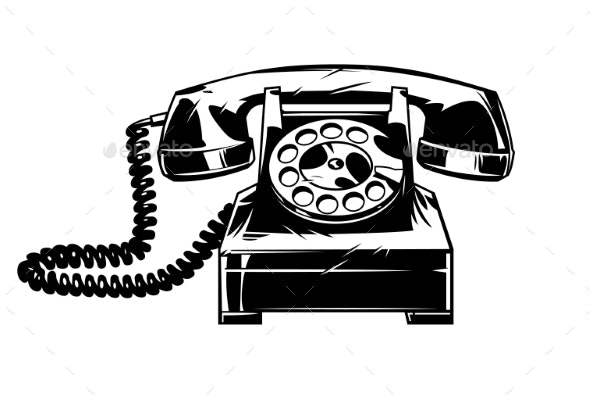 Old Telephone in Comic Style