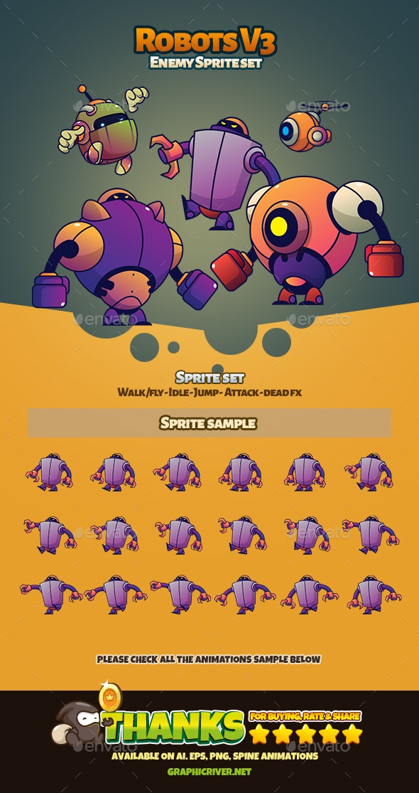 Robots V3 - Sprites Game Assets