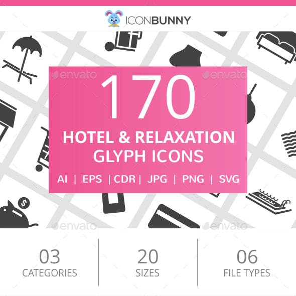 170 Hotel & Relaxation Glyph Icons