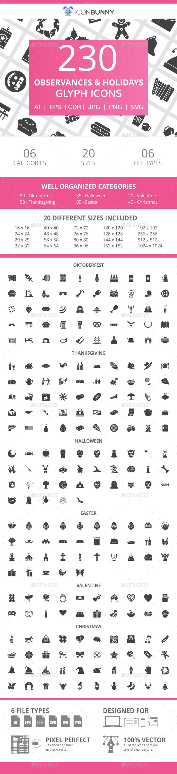 230 Observances & Holiday Glyph Icons - Icons