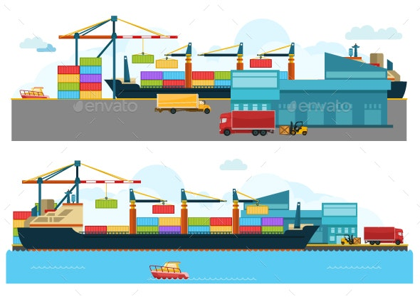 Set of Cargo Ships - Man-made Objects Objects