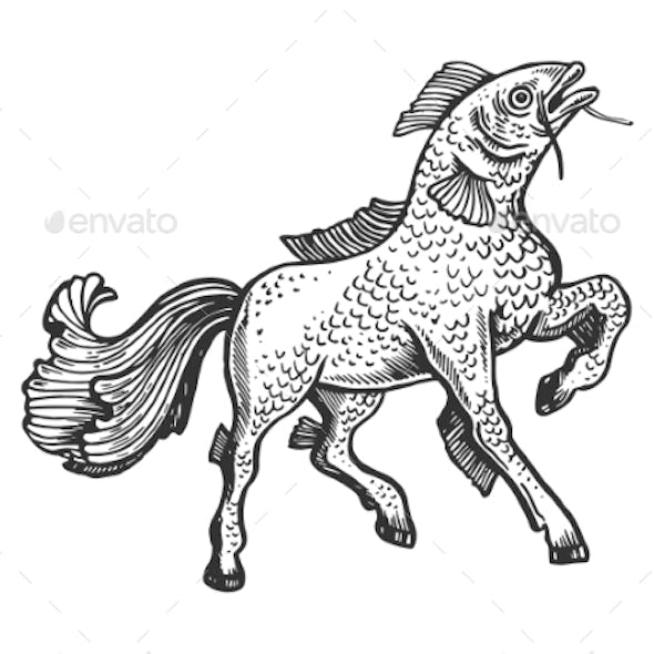 Fish Horse Animal Engraving Vector